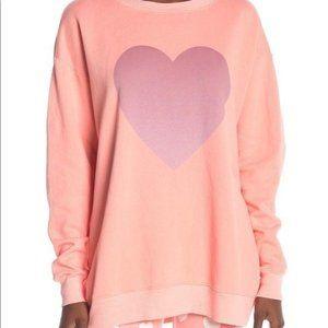Wildfox gleaming heart roadtrip sweater orange